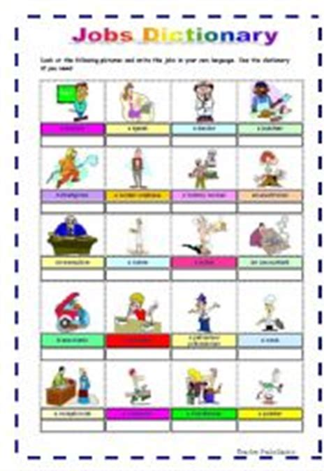Jobs Dictionary (part1)  Esl Worksheet By Maggie2009