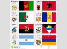 World Flags And Capitals Set 1 Royalty Free Stock