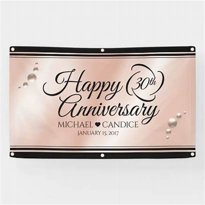 Anniversary 30th Banner Pearl Celebration Elegant Zazzle