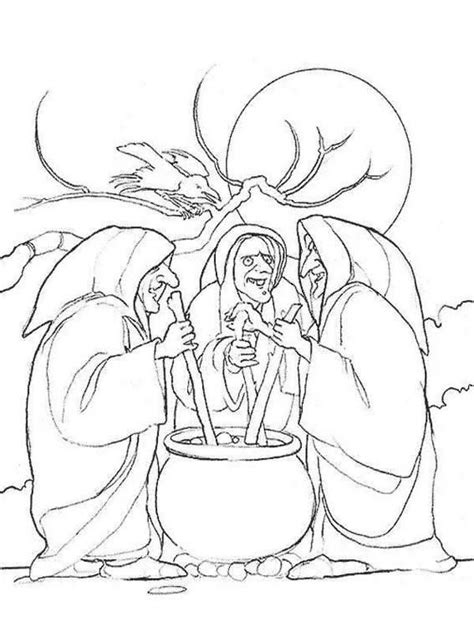 witch group cooking pot coloring sheet  halloween activity witch coloring pages coloring