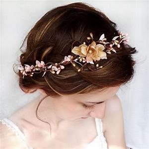 Pink And Gold Bridal Circlet Wedding Flower Headpiece
