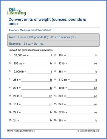 grade 5 math worksheet convert weights ounces pounds and tons k5 learning