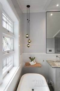 white, bathroom, with, lead, light, window, and, undermount