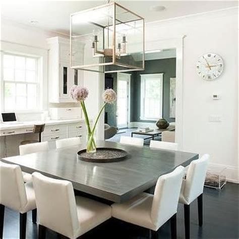 Gray Square Dining Table with White Dining Chairs   For