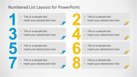 numbered list layout template  powerpoint slidemodel