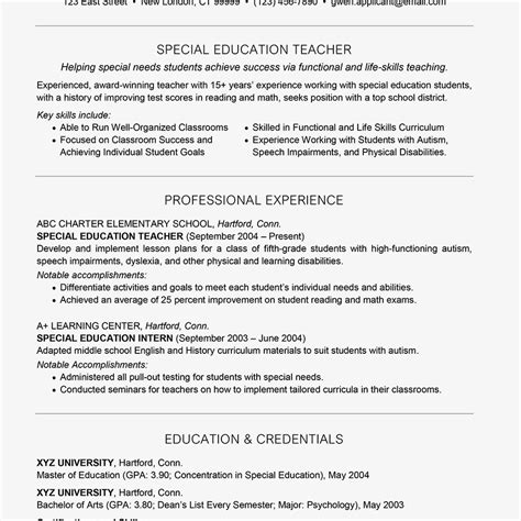 resume sample  teacher applicant