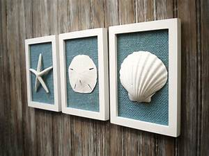 Cottage chic set of beach decor wall art nautical decor for Beach wall decor