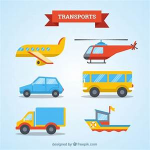 Transport collection flat design Vector | Free Download