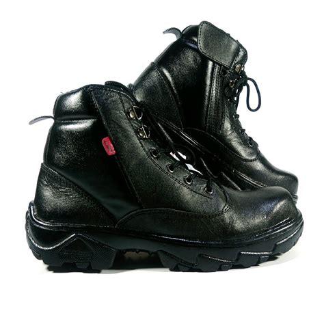 jual sepatu kulit boots pria ujung besi kickers safety hitam proyek kerja gaya casual kantor