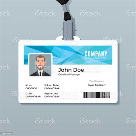 id card template  abstract blue background stock