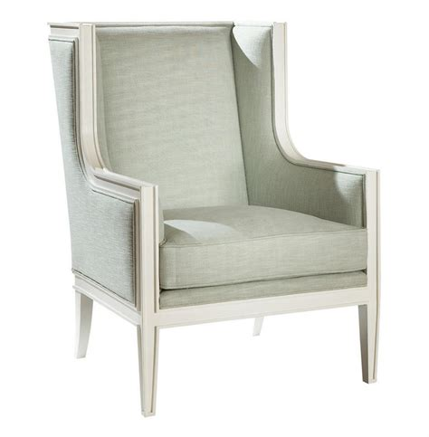 gaston modern white light green wing back accent chair