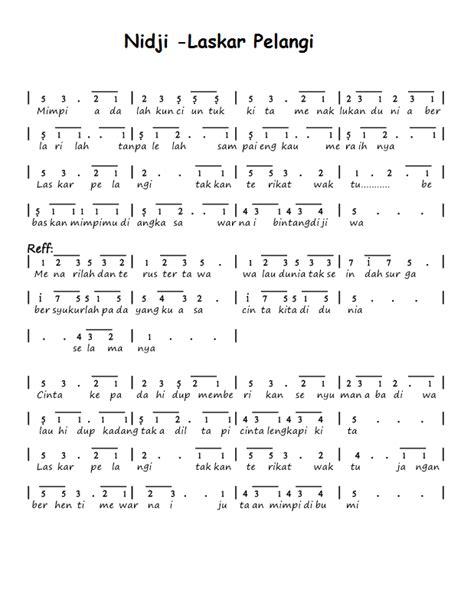 not angka lagu anak kumpulan not angka not angka nidji laskar pelangi