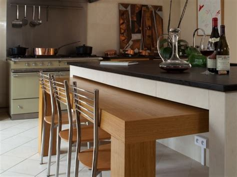 table ilot cuisine haute modèle deco cuisine table haute table escamotable ilot