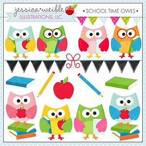 School Time Owls - Cute Digital Clipart for Commercial and ...