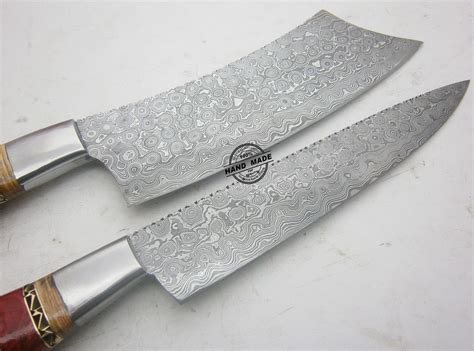 Lot Of 2 Pcs Damascus Kitchen Knife Custom Handmade