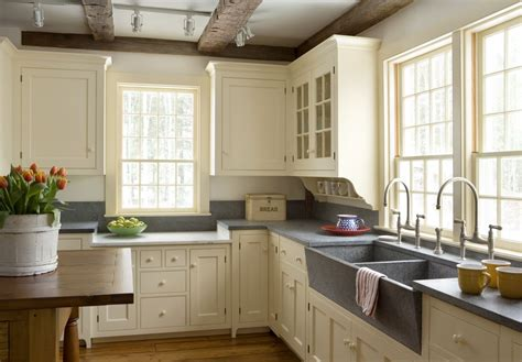 Cream Cottage Kitchen, Soapstone Counters, Open Beams