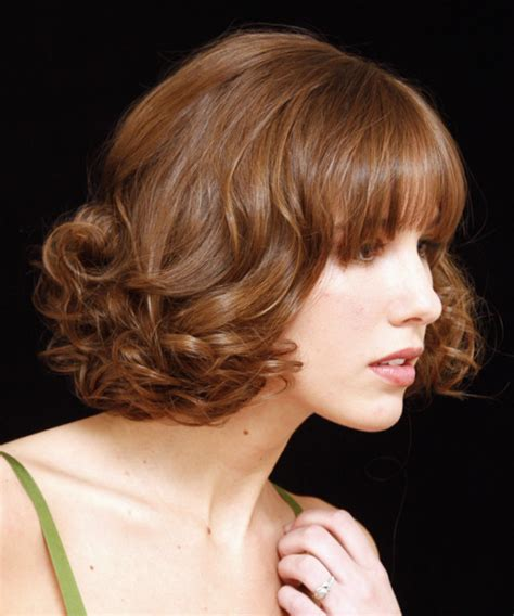 medium curly formal updo hairstyle  blunt cut bangs