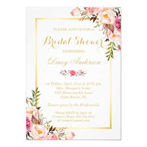 Floral Bridal Shower Invitations - wedding bridal shower chic floral golden frame invitation