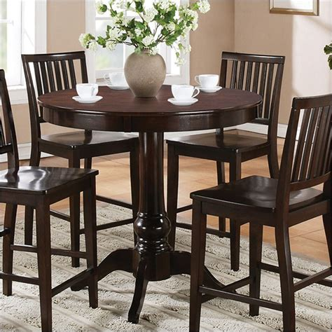 espresso counter height table candice round counter height dining table in dark espresso