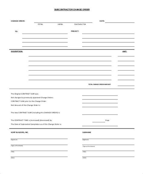 sample change order forms sample templates