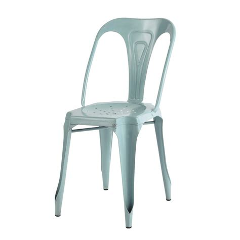 metal industrial chair in light blue multipl s maisons