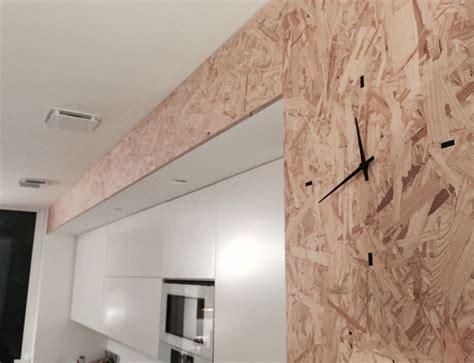 cuisine integree horloge murale intégrée cuisine contemporaine en bois osb