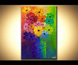 Painting - colorful abstract flowers in a vase modern