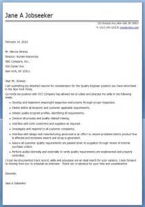quality engineer resume sles sle cover letter sle cover letter quality engineer