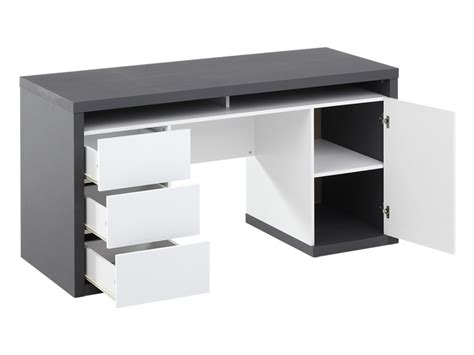 bureau a bureau bicolore blanc et gris avec rangements igor ii