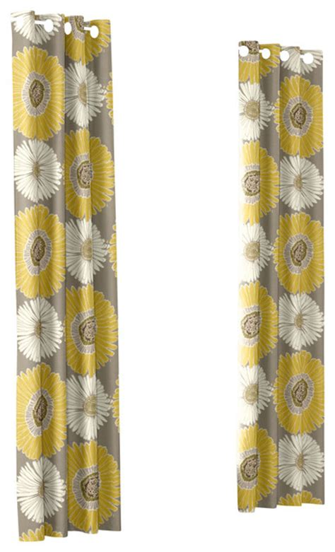 Yellow And Grey Panel Curtains by Yellow Gray Custom Grommet Drapery Single