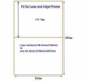 200 half sheet 210mm x 1485mm a5 sticker shipping label for Half sheet label paper