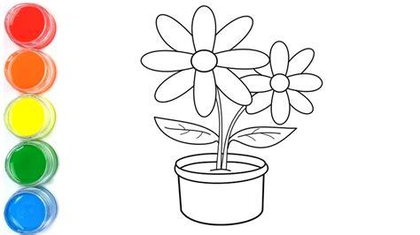 belajar cara menggambar dan mewarnai bunga vas untuk