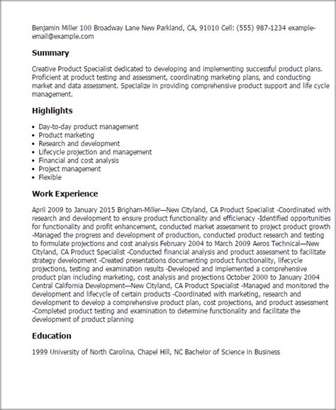 Product Specialist Resume by Professional Product Specialist Templates To Showcase Your