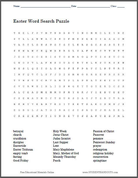 easter religious word search puzzle student handouts