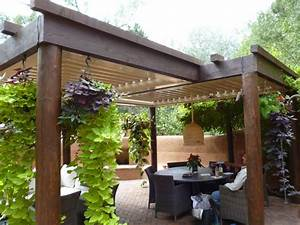 Retractable Awning Wood Patio Covered Cantilevered Pergola