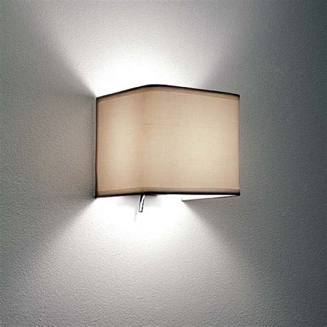 wall light with a white fabric shade