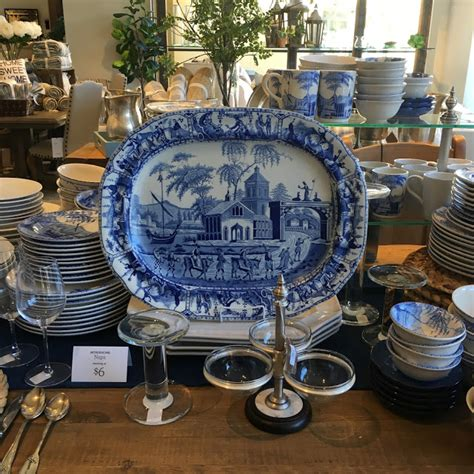pottery barn burlingame vignette design indigo blue