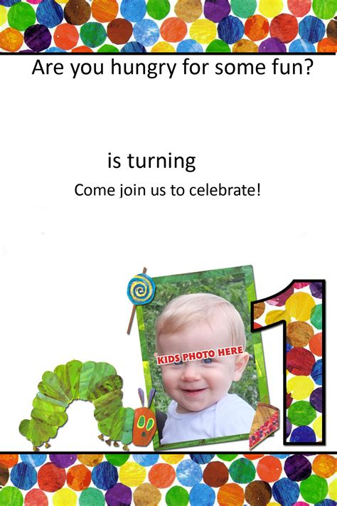 hungry caterpillar st invitation template drevio