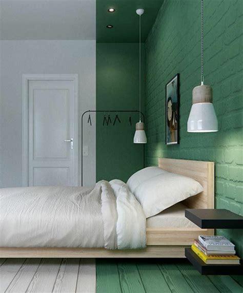 peinture murale pour chambre adulte 1 chambre a coucher sol couleur blanc et vert