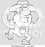 Prospector Dancing Coloring Happy Outlined Clipart Cartoon Vector Cory Thoman sketch template