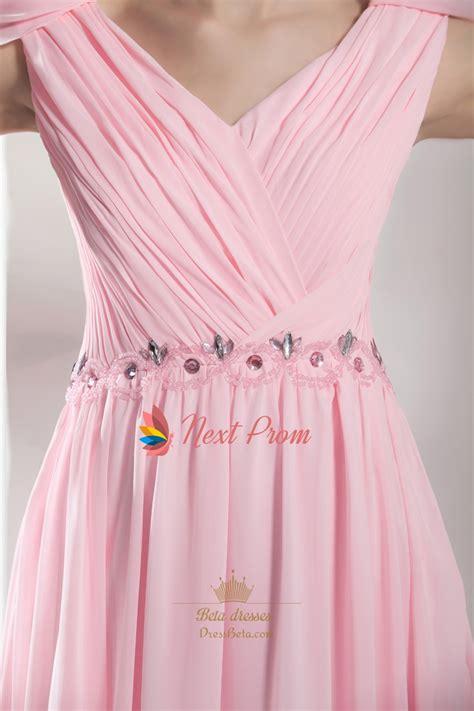 light pink l light pale pink the shoulder chiffon bridesmaid 3759