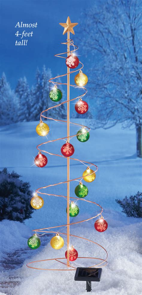 outdoor lighted tree ornaments 45 quot solar power lighted ornament christmas tree garden