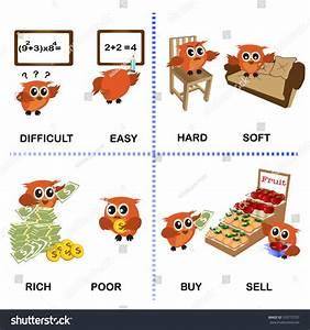 Opposite Word Vector Background Preschool Difficult Stock ...