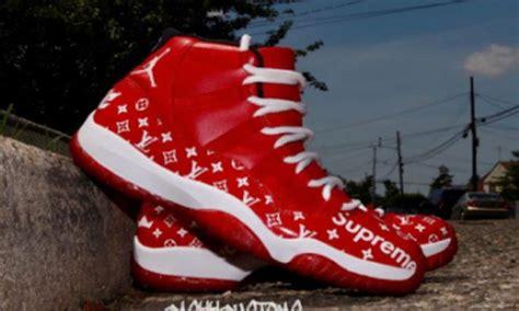 custom lv supreme air jordan custom kicks