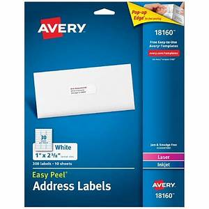 avery easy peel address labels 1quot x 2 5 8quot 300 count With address labels walmart
