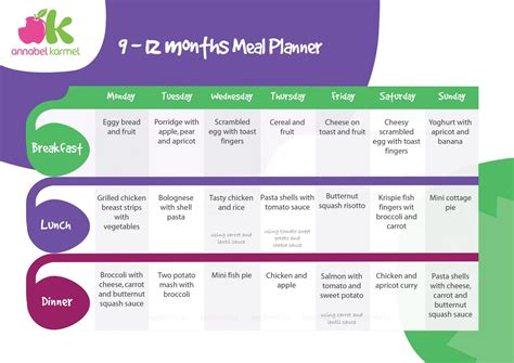 Meal Planner For 9 12 Months Babies Ella Lynn
