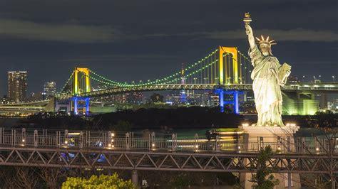odaiba island  tokyo japan rainbow bridge replicas