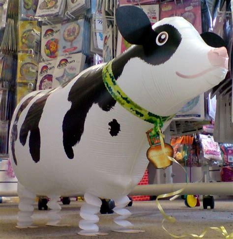 Cowhide Balloons - cow balloon walking balloon pet helium farm animal