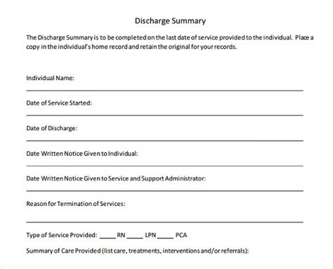Patient Discharge Summary Example