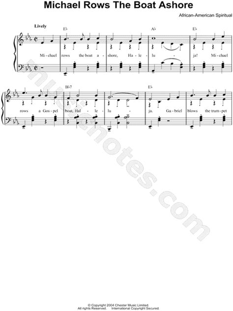 Row The Boat Ashore Piano by Traditional Quot Michael Row The Boat Ashore Quot Sheet In